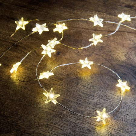 "Wire Lights - Stars 20 Lights - 46"" Long, 20 Lights, 12"" Cord - Wire, Plastic, Cord"