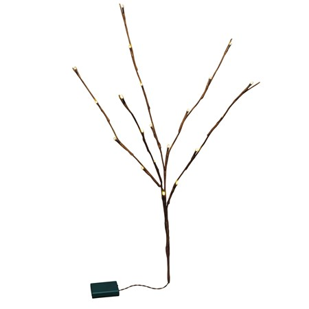 "Battery Operated Willow Twig - 20L Medium - 27.50"" Tall, 20 Lights, 12"" Cord, 1 Stem - Wire, Plastic, Cord"