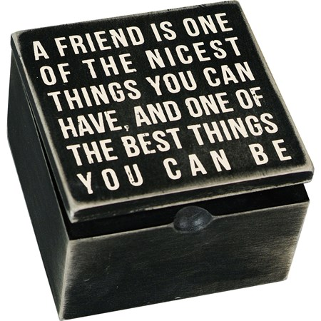 "Hinged Box - A Friend Is One Of The Nicest - 4"" x 4"" x 2.75"" - Wood"