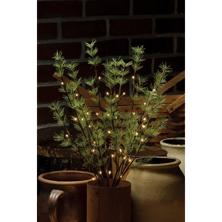 "Battery Operated Pine Twig - 40L Small - 19.75"" Tall, 40 Lights, 20"" Cord, 1 Stem - Wire, Plastic, Cord"