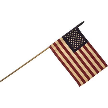 "Primitive American Flag Lg - 15.75"" x 10.75"", Stick: 32"" - Fabric, Wood"