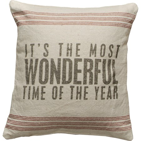 "Pillow - Most Wonderful - 15"" x 15"" - Cotton, Polyester, Zipper"