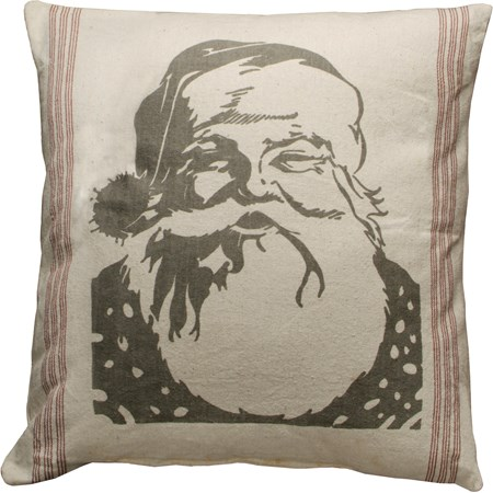 "Pillow - Santa Face - 25"" x 25"" - Cotton, Polyester, Zipper"