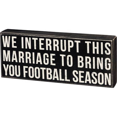 "Box Sign - Interrupt Marriage - 15"" x 6"" x 1.75"" - Wood"