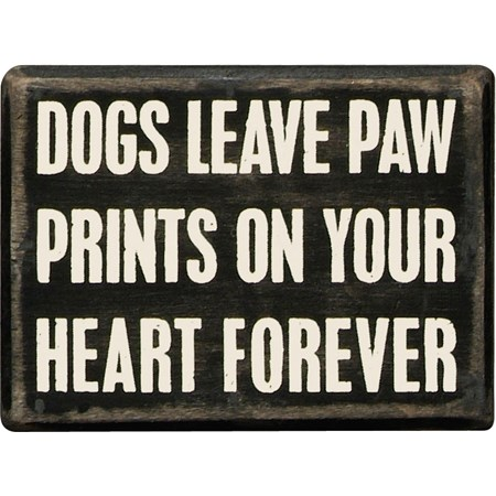 "Box Sign - Dogs Paw Prints - 4"" x 3"" x 1.75"" - Wood"