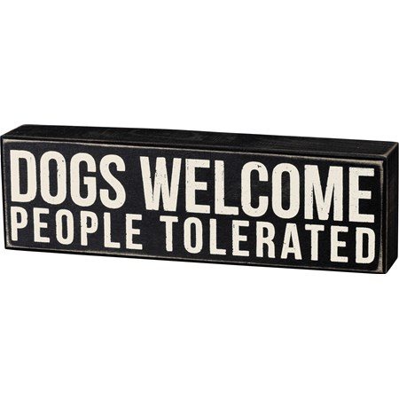 "Box Sign - Dogs Welcome - 10"" x 3"" x 1.75"" - Wood"