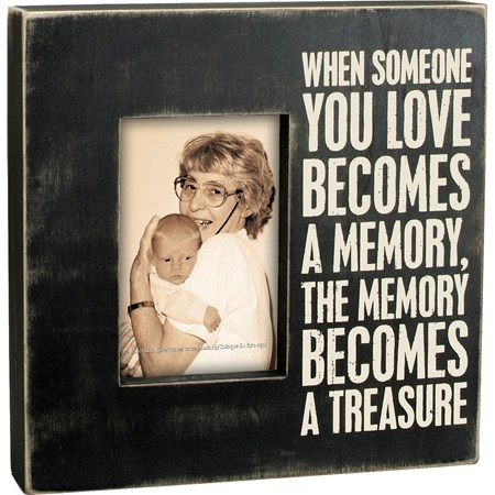 "Box Frame - A Memory - 10"" x 10"" x 2"", Fits 4"" x 6"" Photo - Wood"