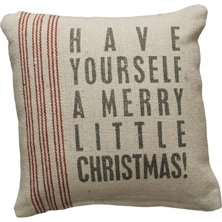 "Pillow - Merry Little - 8"" x 8"" - Cotton, Polyester, Zipper"