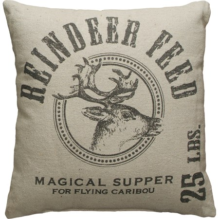 "Pillow - Reindeer Feed - 15"" x 15"" - Cotton, Polyester, Zipper"