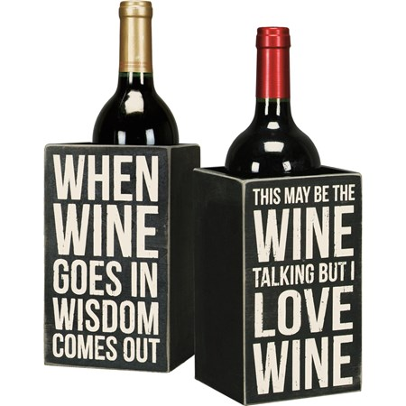 "Single Wine Box - When Wine Goes In Wisdom Comes - 4.25"" x 7.25"" x 4.25"" - Wood"