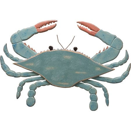 "Wall Decor - Wooden Blue Crab - 16.75"" x 11.50"" - Wood, Metal"