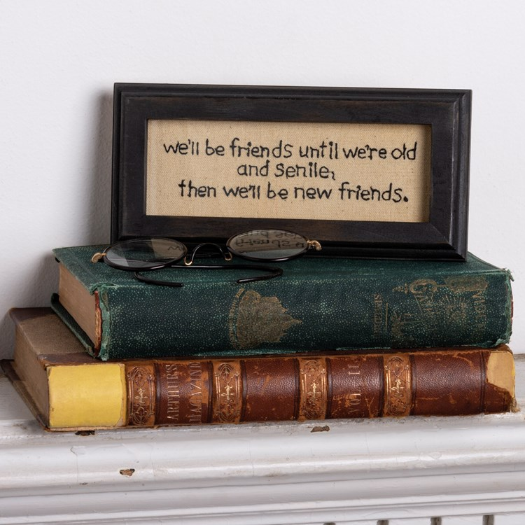 "Wall Decor - Old And Senile - 8"" x 3.75"" x 0.75"" - Fabric, Wood, Glass"