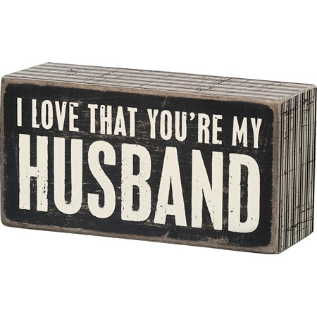 "Box Sign - My Husband - 5"" x 2.50"" x 1.75"" - Wood, Paper"