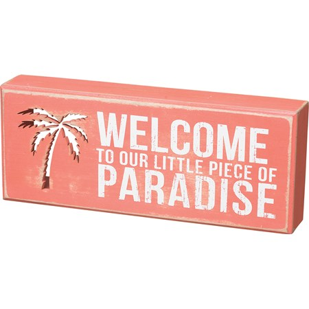 "Box Sign - Piece Of Paradise - 10"" x 4"" x 1.75"" - Wood"
