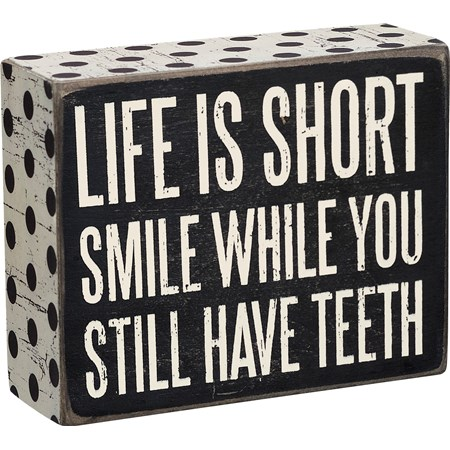 "Box Sign - Life Is Short - 4"" x 5"" x 1.75"" - Wood, Paper"