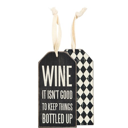 "Bottle Tag - Bottled Up - 3"" x 6"" - Wood, Paper, Ribbon"
