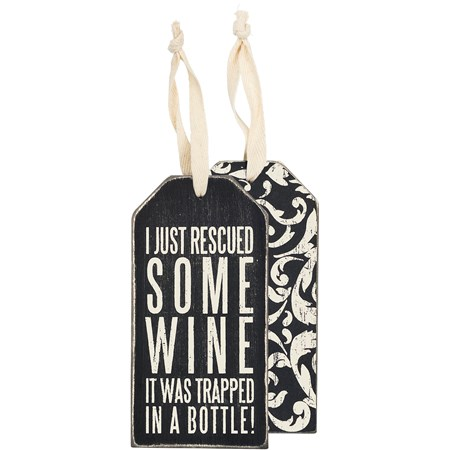 "Bottle Tag - Rescued Wine - 3"" x 6"" - Wood, Paper, Ribbon"