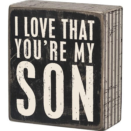 "Box Sign - My Son - 3.50"" x 4"" x 1.75"" - Wood, Paper"