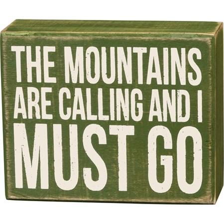"Box Sign - Mountains Calling - 5"" x 4"" x 1.75"" - Wood"