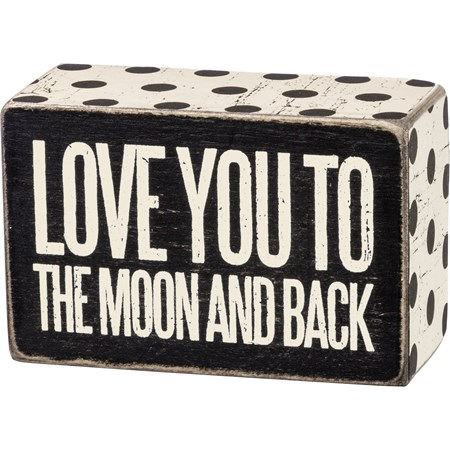 "Box Sign - To The Moon - 4"" x 2.50"" x 1.75"" - Wood, Paper"