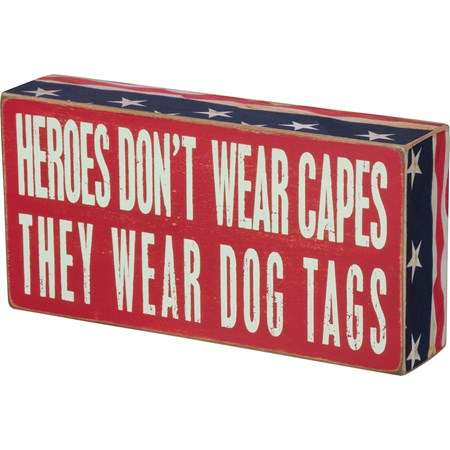 "Box Sign - Heroes Dog Tags - 8"" x 4"" x 1.75"" - Wood, Paper"