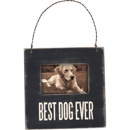 "Mini Frame - Best Dog - 4.50"" x 4.50"" x 0.25"", Fits 3"" x 2"" Photo - Wood, Glass, Metal"