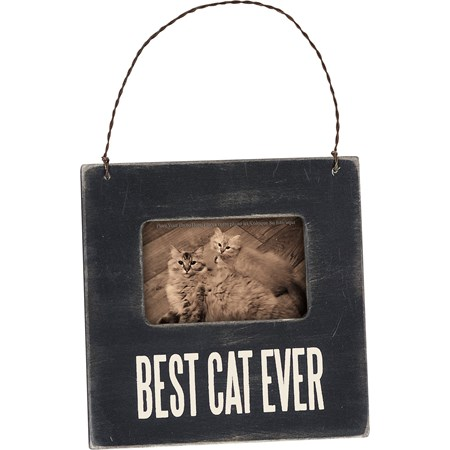 "Mini Frame - Best Cat - 4.50"" x 4.50"" x 0.25"", Fits 3"" x 2"" Photo - Wood, Glass, Metal"