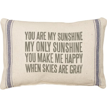 "Pillow - You Are My Sunshine - 15"" x 10"" - Cotton, Polyester, Zipper"