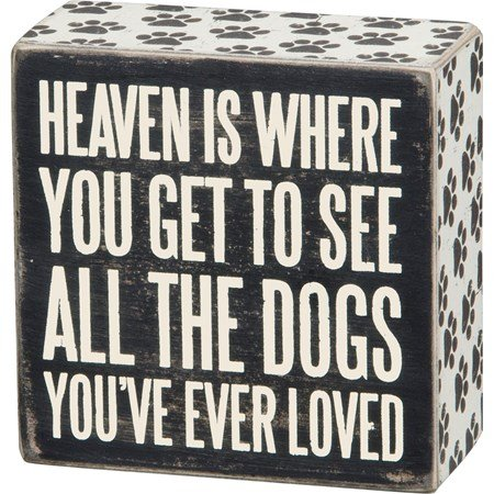 "Box Sign - All The Dogs - 4"" x 4"" x 1.75"" - Wood, Paper"