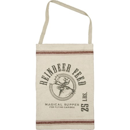 "Hanging Bag - Reindeer Feed - 12"" x 18"", 16"" Handle drop - Cotton, Polyester"