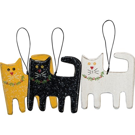 "Ornament Set - Christmas Cats - 3.25"" x 3.50"" - Wood, Wire, Mica"