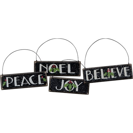 "Ornament Set - Peace Noel Joy Believe - 6"" x 1.75"", 5.50"" x 1.75"", 4.75"" x 1.75"" - Wood, Wire, Mica"