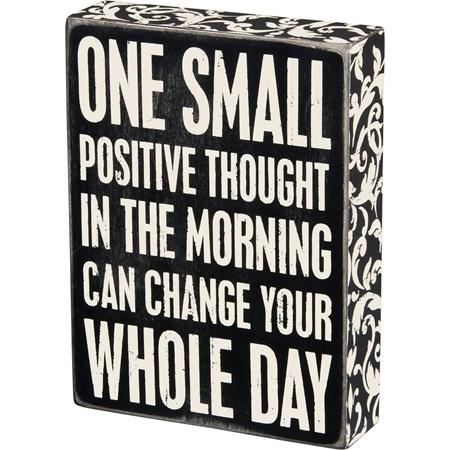 "Box Sign - Positive Thought - 6"" x 8"" x 1.75"" - Wood, Paper"