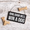 "Ornament - Ring Door Bell Win A Dog - 6"" x 3"" - Wood, Wire"