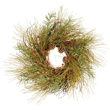"Wreath - Pine with Cones & Berries - 25"" Outside Diameter - Wire, Plastic"
