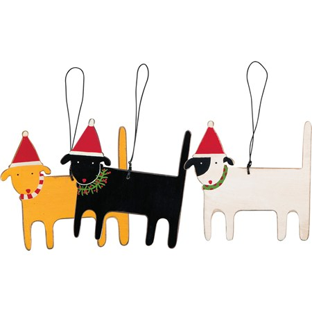 "Ornament Set - Christmas Dogs - 3.25"" x 3.50"" - Wood, Wire"