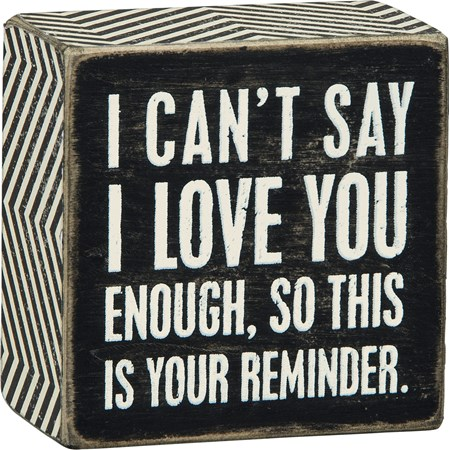 "Box Sign - I Love You - 3"" x 3"" x 1.75"" - Wood, Paper"