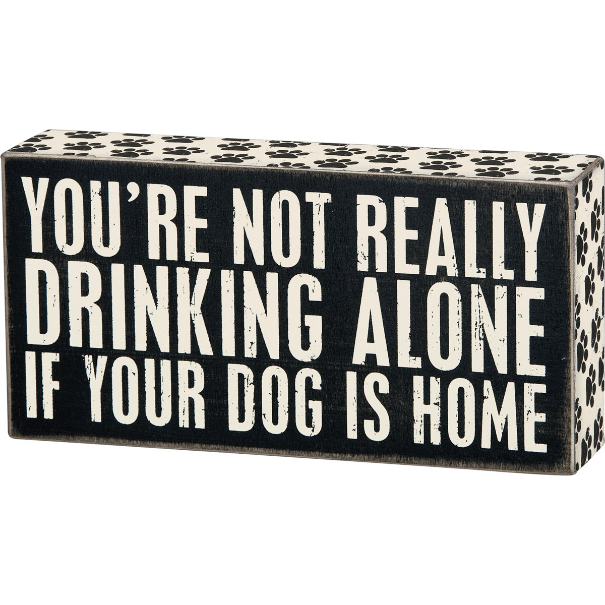 "Box Sign - Drinking Alone - 8"" x 4"" x 1.75"" - Wood, Paper"