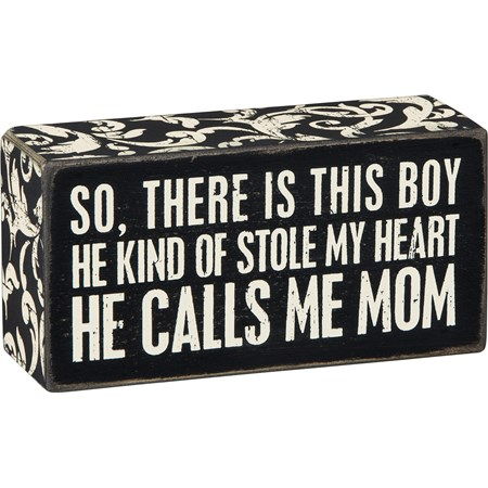 "Box Sign - Calls Me Mom - 5"" x 2.50"" x 1.75"" - Wood, Paper"