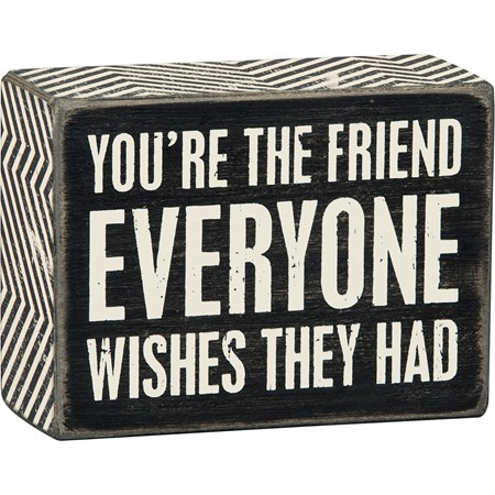 "Box Sign - Everyone Wishes - 4"" x 3"" x 1.75"" - Wood, Paper"