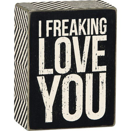 "Box Sign - Freaking Love - 3"" x 4"" x 1.75"" - Wood, Paper"