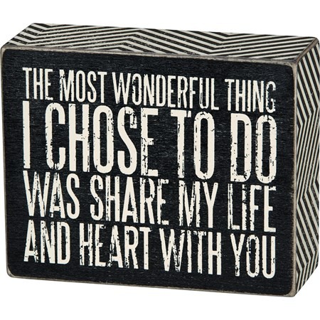 "Box Sign - Share My Life - 5"" x 4"" x 1.75"" - Wood, Paper"