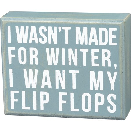 "Box Sign - Made For Winter - 5"" x 4"" x 1.75"" - Wood"