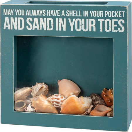 "Sea Shell Holder - May You Always Have A Shell - 10"" x 10"" x 2.50"" - Wood, Glass"