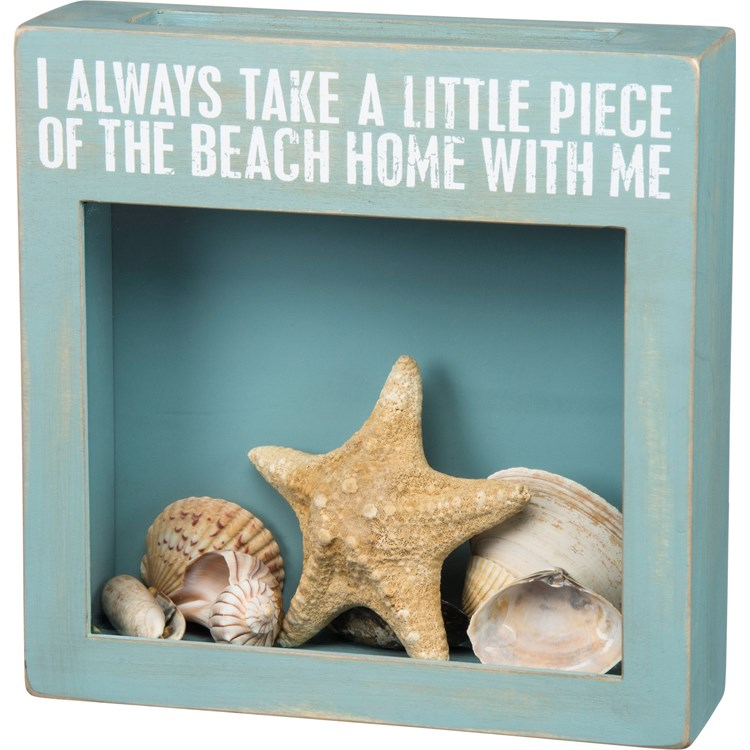 "Shell Holder - Piece Of The Beach With Me - 10"" x 10"" x 2.50"" - Wood, Glass"