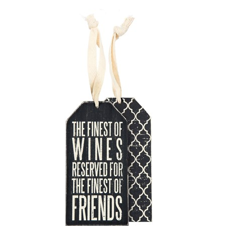 "Bottle Tag - Finest Of Wines - 3"" x 6"" - Wood, Paper, Ribbon"