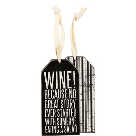 "Bottle Tag - Wine Because - 3"" x 6"" - Wood, Paper, Ribbon"