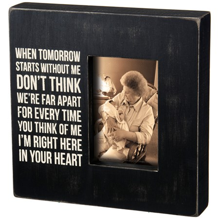 "Box Frame - In Your Heart - 10"" x 10"" x 2"", Fits 4"" x 6"" Photo - Wood, Glass"