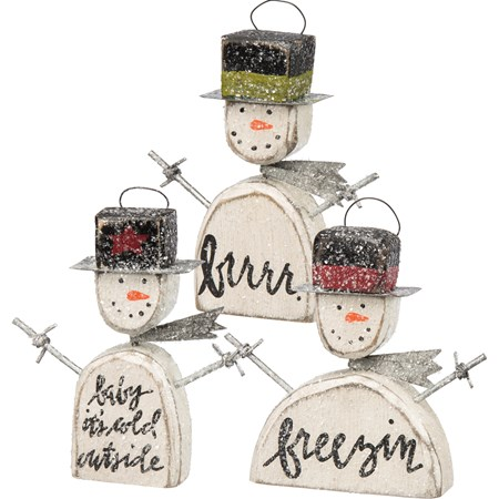 "Ornament Set - Snowmen - 3.25"" - 3.50"" Tall - Wood, Metal, Wire, Mica"