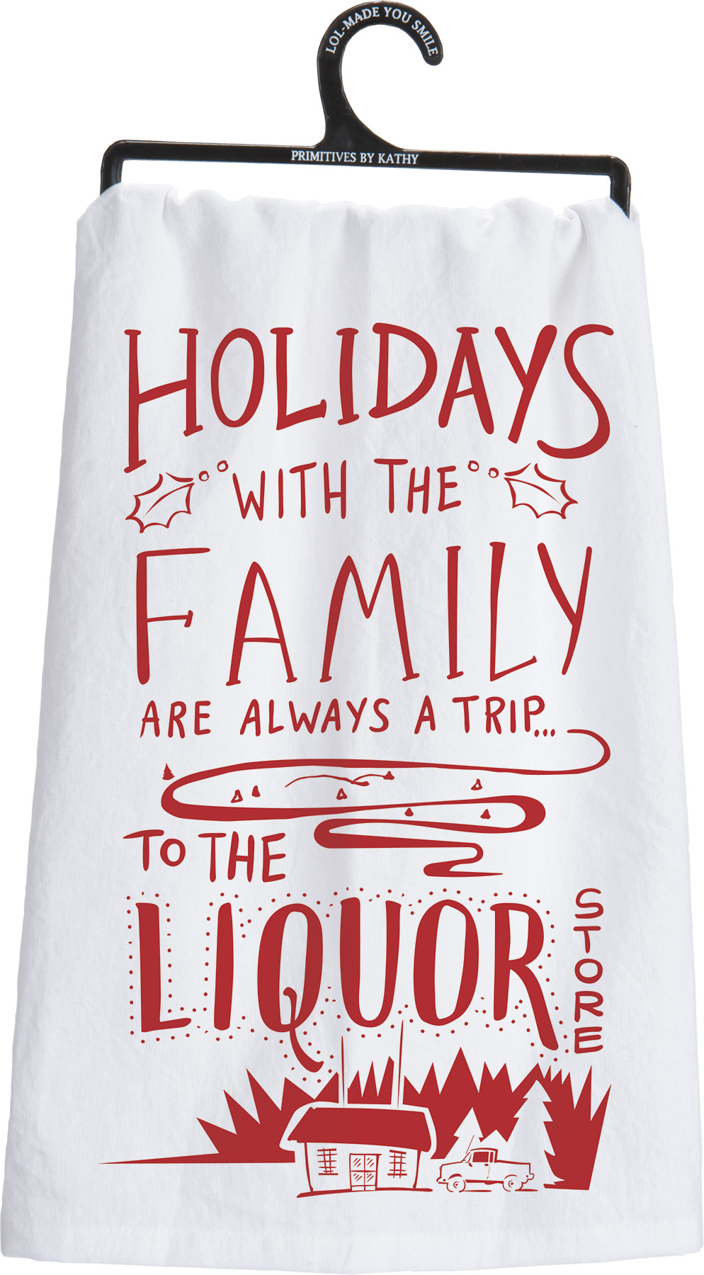 Primitives By Kathy 25536 LOL Made You Smile Holiday Dish Towel 28 x 28 The Elf